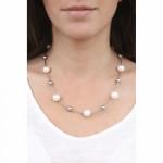 Collier perles nacre argentée et blanche sur tubes