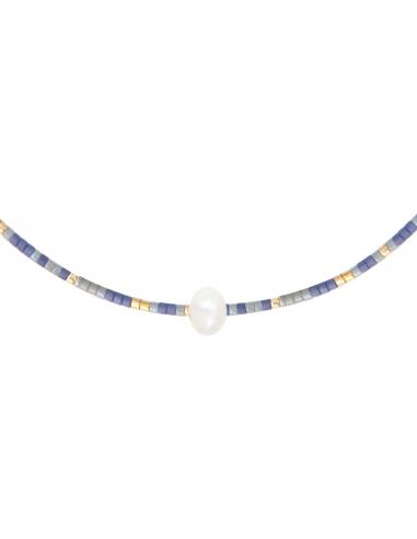 Collier perles de rocailles bleues et perle blanche