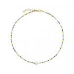 Collier perles de rocailles jaunes et perle blanche