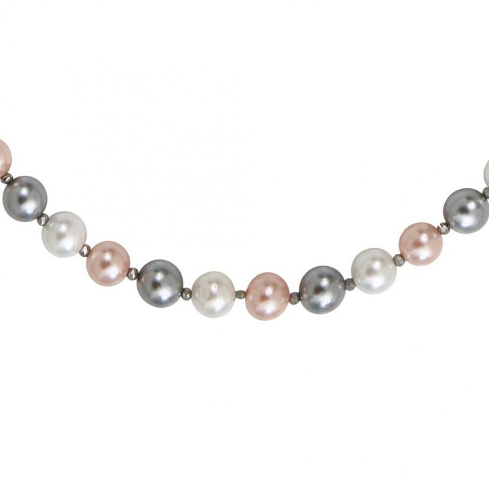 Collier perles nacre bicolore et fermoir shamballa