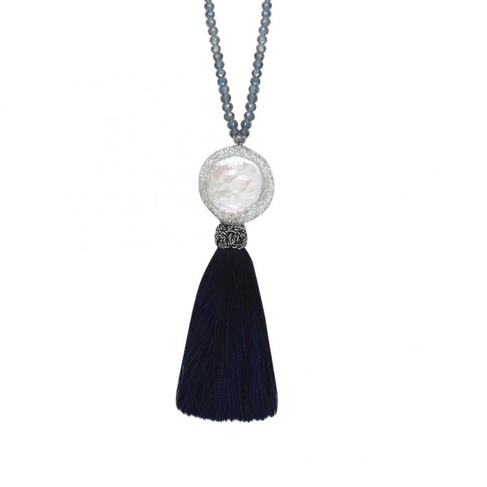 Sautoir perle rare pailletée sur cristal et pompon bleu
