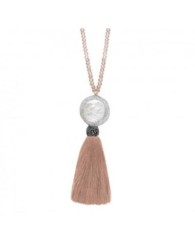 Sautoir perle rare pailletée sur cristal et pompon nude