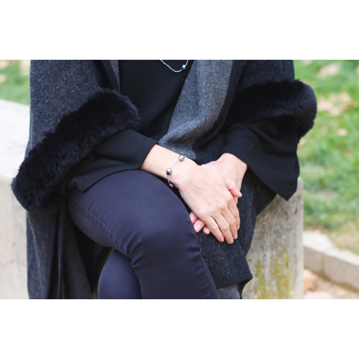 Bracelet perles nacre goutte sur hématite argentée