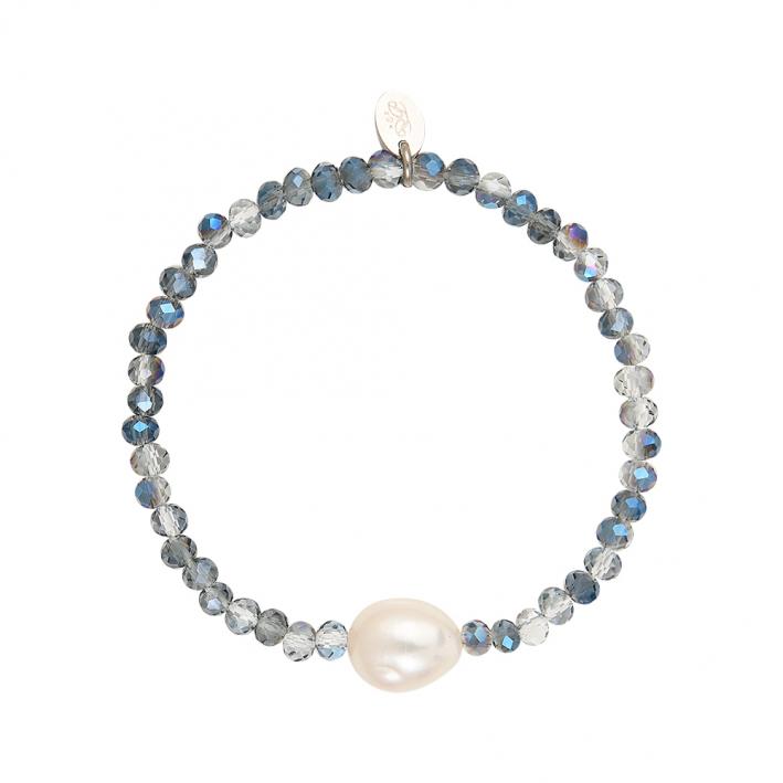 Bracelet duo de perles scintillantes bleues et perle de culture
