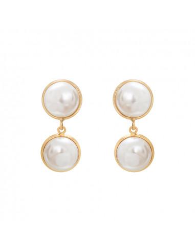 Boucles d'oreilles Clips perles de nacre blanche sur doré