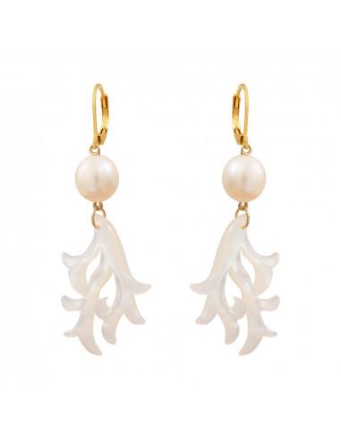 Boucles d'oreilles filigrane de nacre motif corail et perle