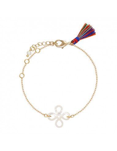 Bracelet filigrane de nacre trèfle et pompon multicolore