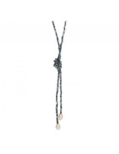 Sautoir duo de perles scintillantes bleues et perles de culture