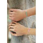 Bracelet coulissant perles de rocailles roses et dorées tissées