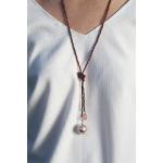 Sautoir hématite rose et perle de nacre et cristal en breloque