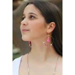 Créoles perles de cristal trio de roses et pompons