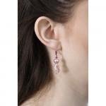 Boucles d'oreilles roses perles hématite nacre et goutte cristal