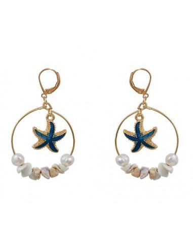 Boucles d'oreilles créoles étoile de mer et perles turquoise
