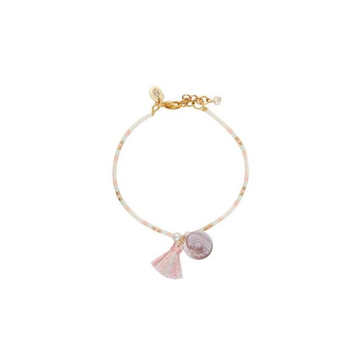 bracelet perles de rocailles tons roses médaille nacre et pompon