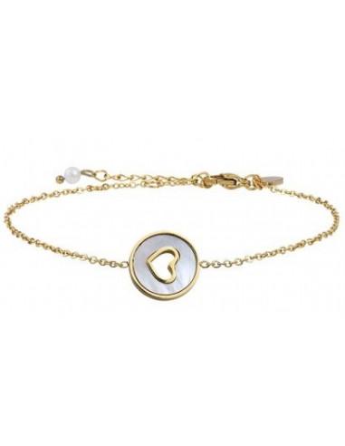 Bracelet médaille coeur serti évidé sur nacre et acier doré
