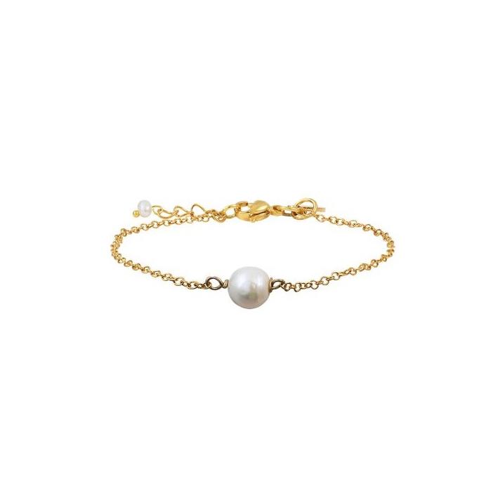 Bracelet une perle de culture ronde et blanche sur chaîne dorée