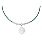 Collier perle disque rond de nacre blanche sur cuir bleu turquoise
