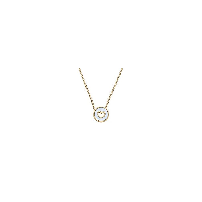 Collier médaille coeur serti évidé sur nacre et acier doré