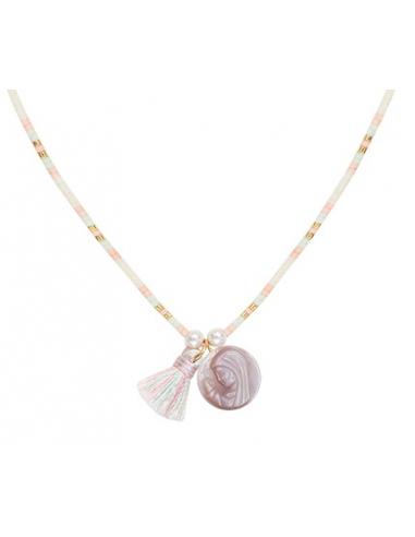 Collier perles de rocailles tons roses médaille nacre et pompon