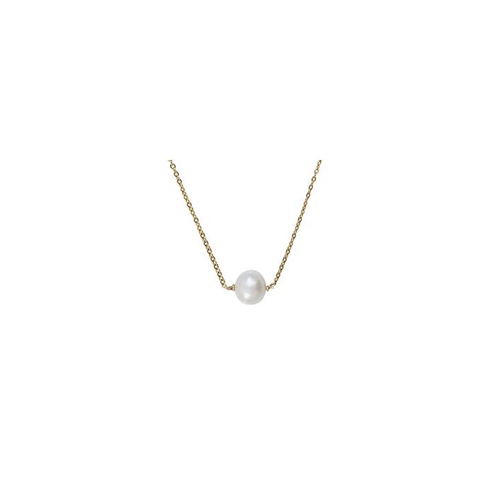 Collier une perle de culture ronde et blanche sur chaîne dorée