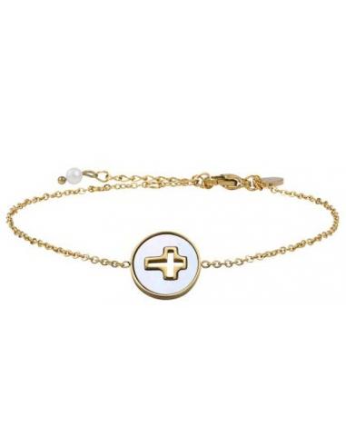 Bracelet médaille croix sertie évidé sur nacre et acier doré