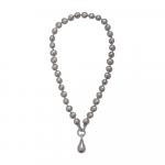 Collier une goutte perles de nacre baroques couleur champagne