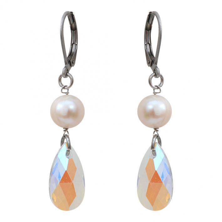 Boucles d'oreilles perle de culture et goutte de cristal