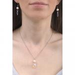 Collier une véritable perle de culture et goutte de cristal
