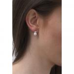 Boucles d'oreilles puces perle de culture blanche et cristal