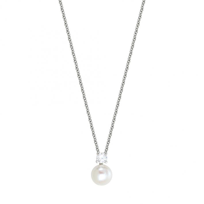 Collier une perle de culture blanche et cristal