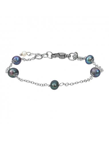 Bracelet petites perles de culture noires sur chaine