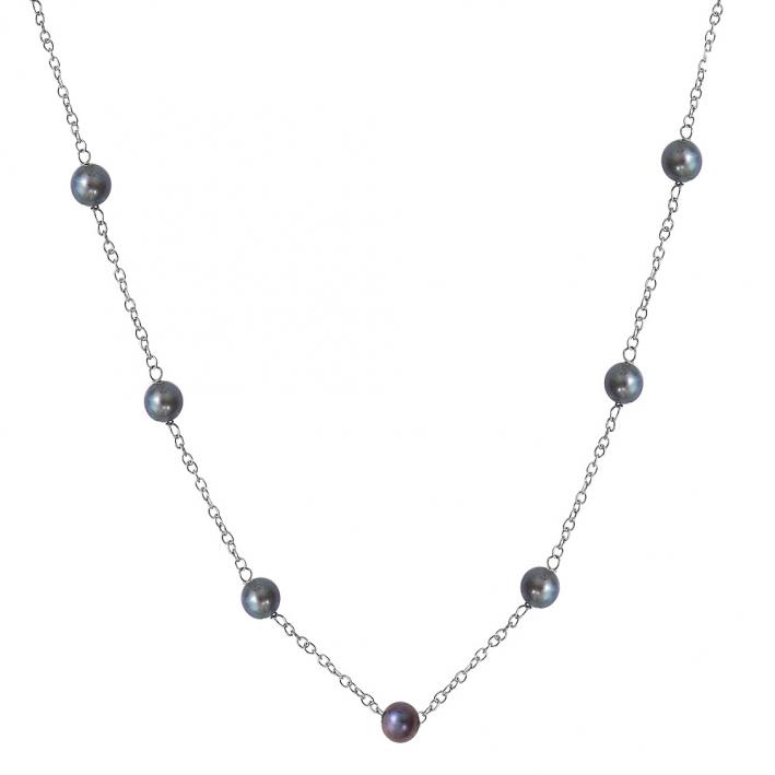 Collier petites perles de culture noires sur chaine