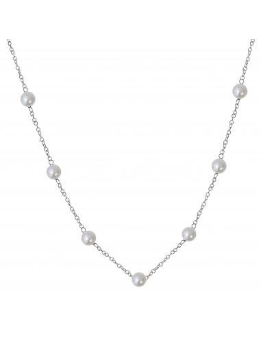 Collier petites perles de culture blanches sur chaine