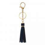 Porte clés en cuir avec pompon bleu marine