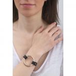Bracelet cuir noir et anneau acier doré