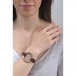 Bracelet cuir marron et anneau acier doré