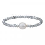 Bracelet duo de perles scintillantes argentées et perle
