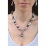 Collier une goutte perles de nacre baroques argentées