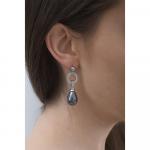 Boucles d'oreilles perles de nacre goutte couleur argentée