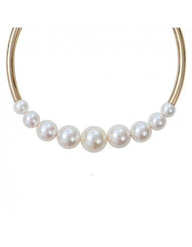 Collier perles de nacre blanches sur tube doré