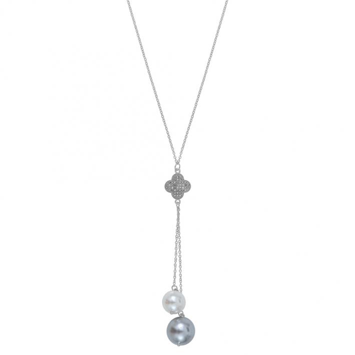 Collier cravate trèfle strass et perles de nacre blanche et grise