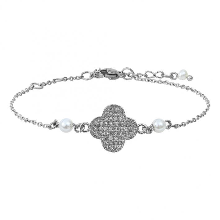 Bracelet trèfle strass sur chaîne argentée et perles de culture blanches