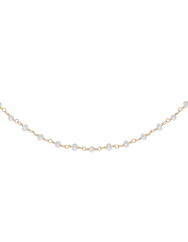 Collier petites perles de culture blanches sur chaîne dorée