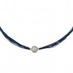 Collier une perle de culture blanche sur multi-cordon bleu
