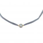Collier une perle de culture blanche sur multi-cordon gris