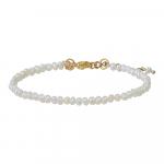 Bracelet véritables petites perles de culture blanches sur doré