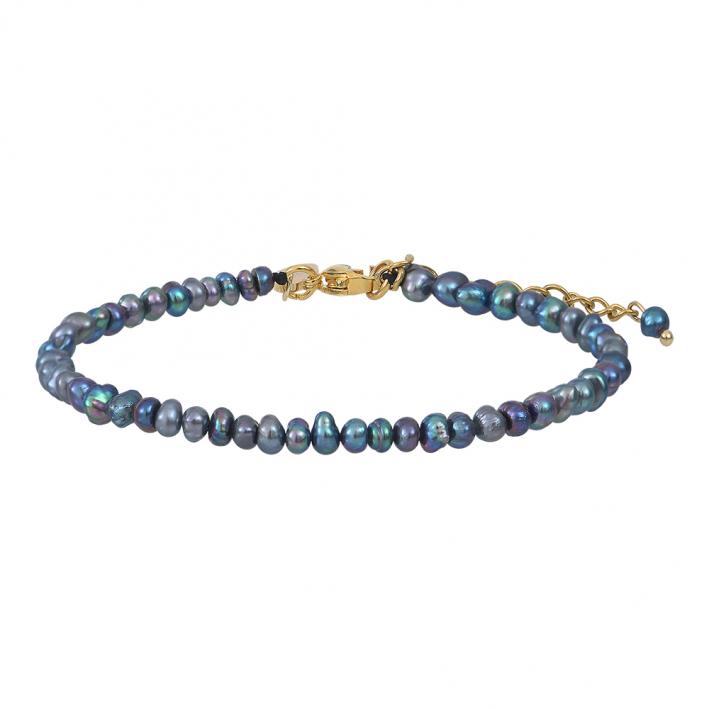 Bracelet véritables petites perles de culture noires sur doré