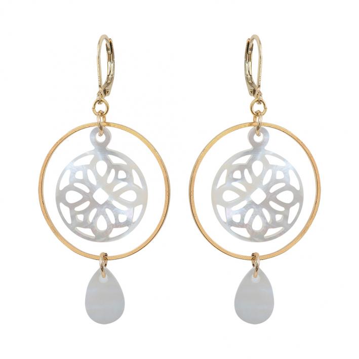 Boucles d'oreilles pampille et médaille de nacre blanche sur doré