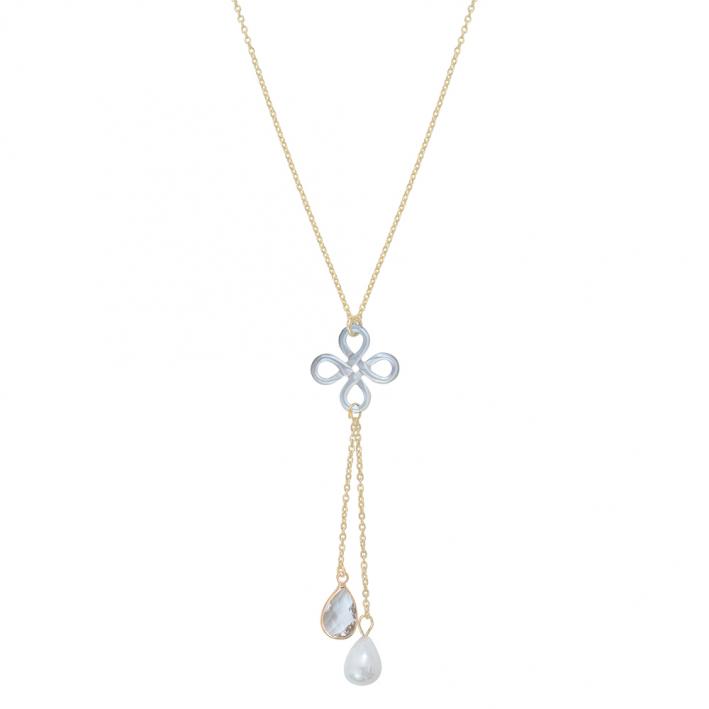Collier trèfle de nacre blanche et pampilles cristal et perle blanches