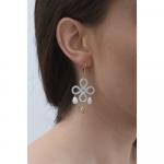 Boucles d'oreilles trèfle de nacre blanche et pampilles